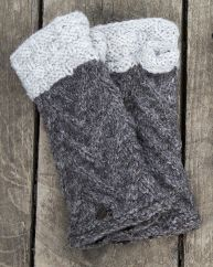 Fleece lined wristwarmer  ' v' knit Marl Brown