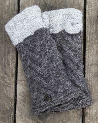 Fleece lined wristwarmer  ' v' knit Marl Brown