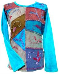 Patchwork Embroidered Stonewashed Top Turquoise