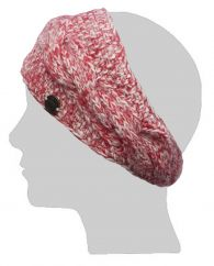 Fleece lined Headband Fine Wool Mix  Cable Red