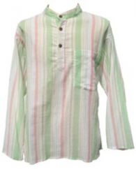 Fine White Striped Shirt Green