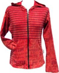 Stonewashed Striped Pixie Hood Kangaroo Pocket Jacket Red