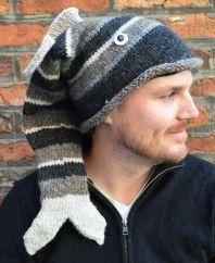 Hand knit half fleece lined short tailed fish Greys