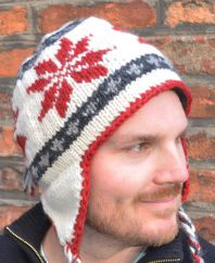 Hand knit half fleece lined snowflake ear flap hat Red/White/Grey