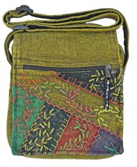 Hand embroidered medium bag green