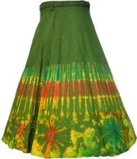 Rainbow Border Wrapover Skirt Green