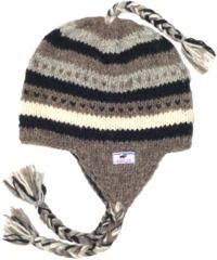 Hand knit stripes ear flap hat Brown/Grey/Black