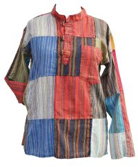 Patchwork stonewashed kurtha bright multi coloured