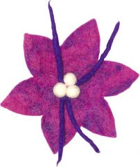 Large Purple Poinsettia hair brooch