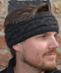 Fleece lined headband cable Charcoal
