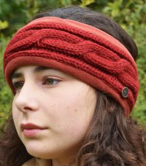 Fleece lined headband cable Deep Red
