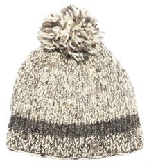 Pure wool half fleece lined two tone rib bobble hat Soft Brown
