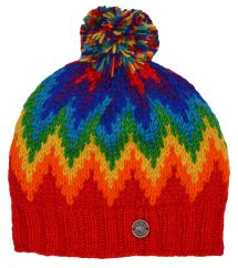 Pure wool hand knit flash bobble hat red/rainbow