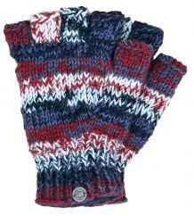Pure wool electric stripe fingerless gloves brick/natural