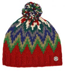 Pure wool hand knit flash bobble hat rust/multi
