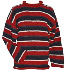 Pure wool hand knit  jumper random stripes red