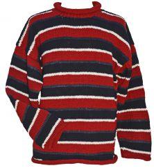 Pure wool hand knit  jumper random stripes red
