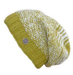 Hand knit pure wool moss stitch slouch hat moss green