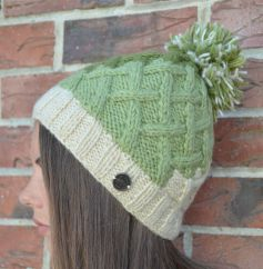 Hand knit pure wool lattice step bobble hat Greens/cream