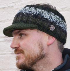 Peak hand knit electric pattern unisex headband green