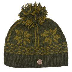Hand knit pure wool snowflake band bobble Dark green