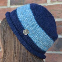 NAYA Pure wool half fleece lined Thin stripes beanie Dark Blue