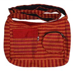 Mid size two tone striped multi pocketed bag spice