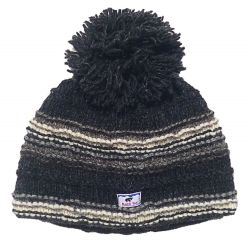 Pure wool half fleece lined detachable bobble hat Charcoal