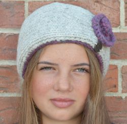 Pure wool fleece lined swirl headband heather dusk