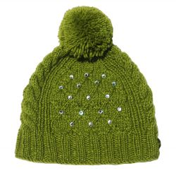 Pure wool half fleece lined trellis sparkle bobble hat Green