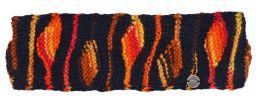 Pure wool Fleece lined headband flame black/orange