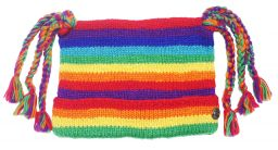Half fleece lined pure wool hat o'six tails Rainbow