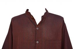 Light weight Striped Cotton Shirt Black and brick red