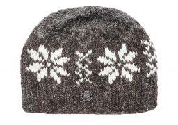 Pure wool half fleece lined snowflake beanie Marl Brown