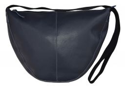 Leather Slouch Bag Large Navy