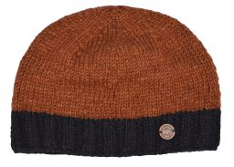 Hand knit plain border beanie caramel
