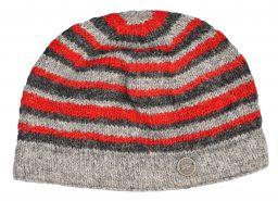 NAYA pure wool random stripe beanie natural/red