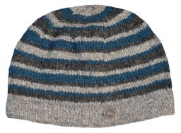 NAYA pure wool random stripe beanie natural/teal
