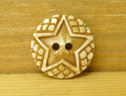 Hand carved Star Round Button