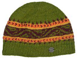 Hand knit NAYA pattern band beanie green