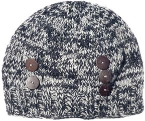 Half fleece lined hand knit two tone button beanie Grey