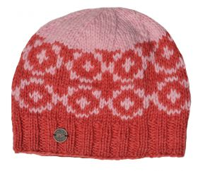 Pure wool hand knit circles beanie coral/pale pink