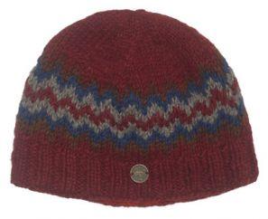 Half fleece lined pure wool zig zag beanie Brick