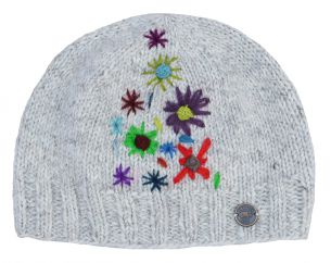 Hand embroidered pure wool beanie pale grey
