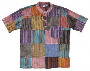 Short sleeved Stonewashed patchwork multicoloured shirt