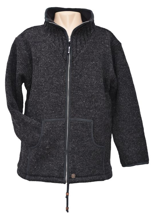 Fleece Lined Wool Jacket At Black Yak