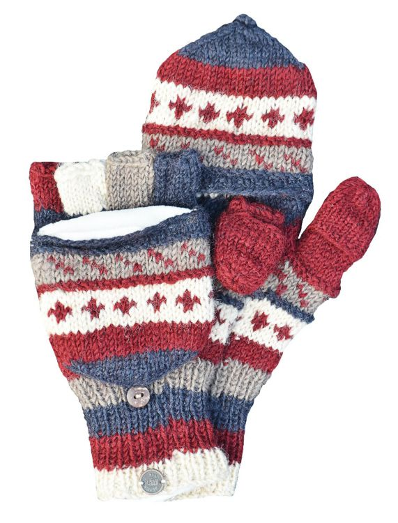 Knitting Pattern For Fold Over Mittens : Fold over Mitts - Patterned at Black Yak