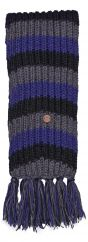 Long hand knit Scarf stripe blue/black/grey